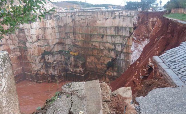 Troço de estrada entre Vila Viçosa e Borba abateu