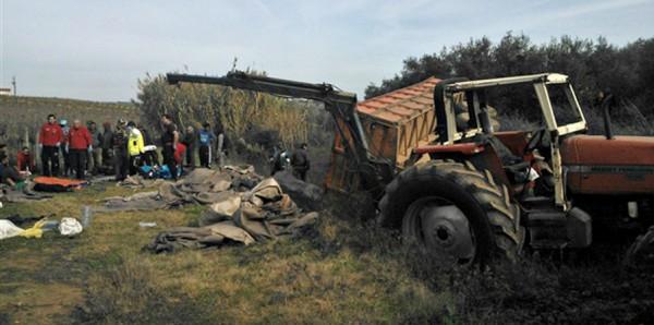 Acidente com trator agrícola provoca 10 feridos em Sousel